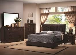 bedroom black leather platform bed queen dark wood bedroom