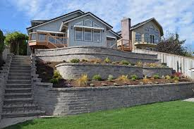 Patio Retaining Wall Pictures Tiered Retaining Wall On Lake Lawrence Near Yelm Ajb Landscaping