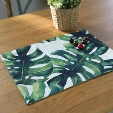 Leaf Table Runner Essie Home Digital Print Cotton Linen Palm Leaf Monstera Leaf