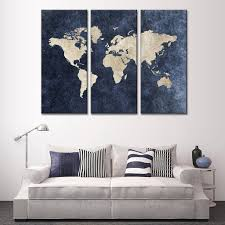 modern navy blue world map canvas painting for room decor travel modern navy blue world map canvas painting for room decor