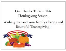 thanksgiving thank you cards our thanks wishing you and your family