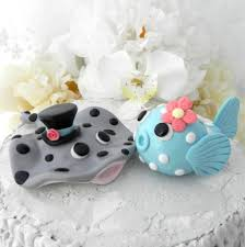fish cake toppers wedding cake topper stingray and puffer fish