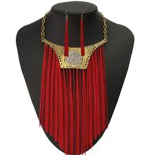collar bib necklace images Trendy punk chunky pendant tassel earrings collar bib necklaces jpg