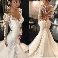 bridal gowns vintage 2017 lace mermaid wedding dresses sleeves appliques