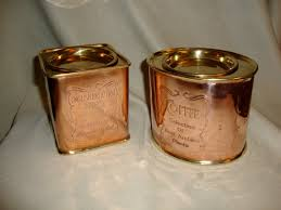 copper canister set kitchen vintage copper brass coffee and tea canisters cannisters tin tins
