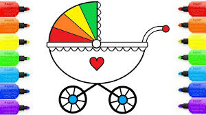 draw baby carriage coloring pages kids