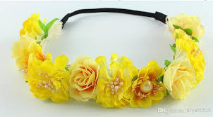 yellow headband yellow small flower forehead hair wedding wreath band