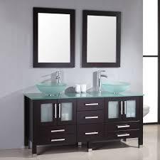Grey Wall Bathroom Winsome Vintage Double Sink Vanity Dresser Plus Steel Taps Under