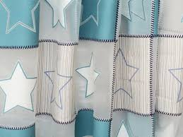 blue twinkling stars sheer curtain fabric by the yard kids