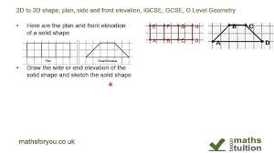 side elevation 2d to 3d shape plan side and front elevation igcse gcse o