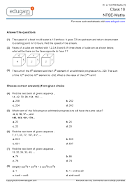 class 10 ntse maths printable worksheets online practice online