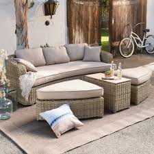 Curved Modular Outdoor Seating by Belham Living Meridian Round Outdoor Wicker Patio Furniture Set