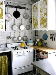 small kitchen spaces after remodel with storage solutions hanging