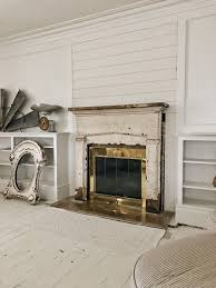 front living room makeover shiplap on the fireplace liz marie blog