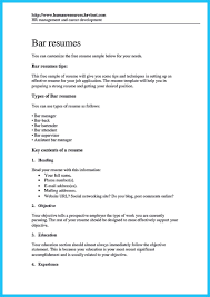 Resume Experience Sample Examples Of Bartender Resumes