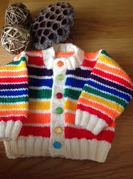 hand knitted rainbow striped babies cardigan first size 0 3 months