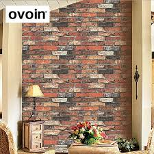 stone brick red brick vintage style three dimensional brick wallpaper roll