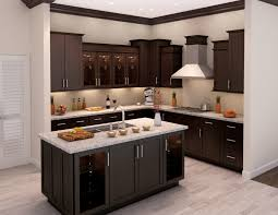 Laminate For Kitchen Cabinets L Shaped Dark Brown Wooden Kitchen Cabinet And Rectangle Island