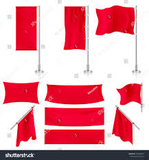 Banners Flags Pennants Realistic Red Advertising Fabric Textile Banners Stock Vector