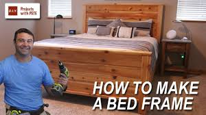 Building A Platform Bed Frame With Drawers by How To Make A Bed Frame With Free Queen Size Bed Frame Plans Youtube