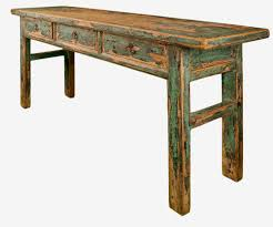 salvaged wood console table old rustic distressed console table with 3 drawers made from