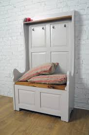 high back monk u0027s bench in french grey hallway storage