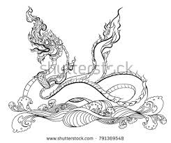 naga tattoo thailand hand drawn thai dragon on water stock vector hd royalty free