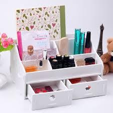 Makeup Organizer Desk White Wooden Box Wash Gargle Bathroom Shelf Storage Box Toilet