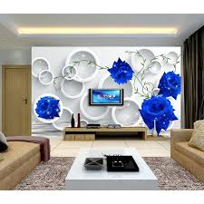hd blue rose 3d customized photo wallpaper flowers large wall