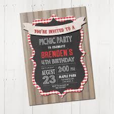 picnic birthday party invitation picnic party invitation