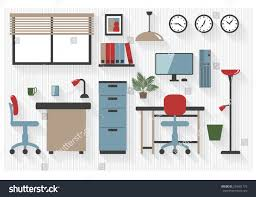 flat business office furniture icons computers stock vector