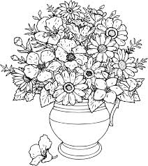 coloring pages of flowers in a vase funycoloring