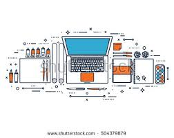 web design software tutorial lined outlinegraphic web design styledesigner workplace stock