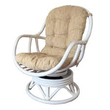 Swivel Rocker Chair Base by Rattan Swivel Rocking Chair Erick Color White Wash With Cushion