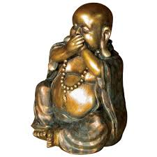 bronze gold laughing buddha ornament