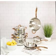 how to clean stainless steel kitchen handles berghoff ouro gold 11pc 18 10 stainless steel cookware set gold handles metal lids