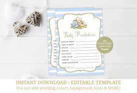 winnie the pooh baby shower favors winnie the pooh baby shower baby prediction card classic pooh