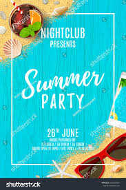 beautiful flyer summer party top view stock vector 590350964
