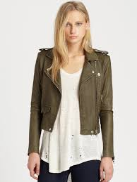 leather motorcycle jacket brands iro leather motorcycle jacket in green lyst