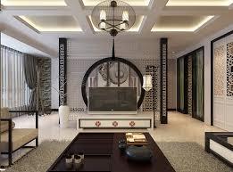 Orientalstencilfeaturewallmonochromelivingchinajpeg - Interior design oriental style
