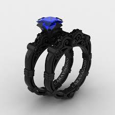 black gold sapphire engagement rings masters caravaggio 14k black gold 1 25 ct princess blue
