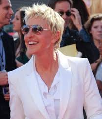 ellen degeneres slithered pixie haircut hair clipped up and