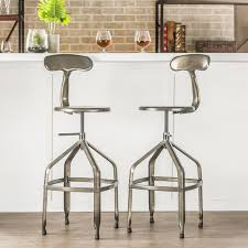 Adjustable Bar Stools Baxton Studio Architect Gunmetal Finished Metal Adjustable Bar