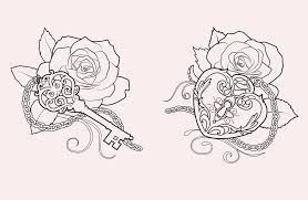 outline heart lock n key tattoo design in 2017 real photo