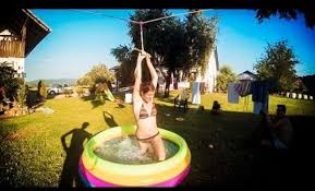 Backyard Zip Line Diy Awesome Backyard Zipline Leads Into Tiny Pool One News Page Video