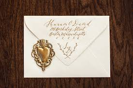 wedding invitations exles handwritten calligraphy on wedding invitation with gold wax seal