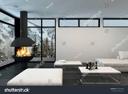 fire roars modern corner fireplace luxury stock illustration
