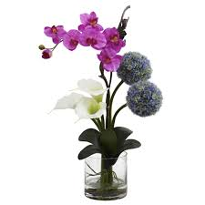 26 inch indoor calla lily orchid u0026 ball flower arrangement in