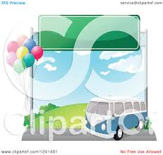 volkswagen bus clipart clipart of a blue vw kombi van under a road sign with balloons