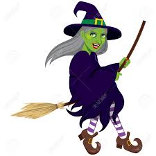 Ugly Green Ugly Green Evil Witch Flying On A Broom Isolated On White